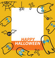ghost flying flat design thin line halloween card vector image vector image