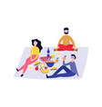 group young people having picnic outdoors with vector image