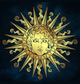 hand drawn antique style gold sun apollo vector image vector image