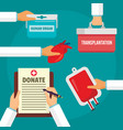 hospital donate organs concept background flat vector image vector image