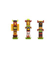 indian totem poles set colorful wooden ethnic vector image vector image