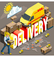 Isometric Flat Express Delivery Services 3d vector image vector image