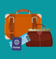 leather luggage case carryon bag near travelling vector image vector image
