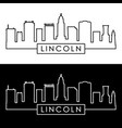 lincoln skyline linear style editable file vector image
