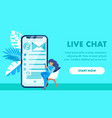 live chat website landing page template vector image