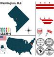 Map of Washington DC vector image vector image