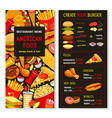 menu for fast food meals and desserts vector image vector image