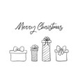 merry christmas greeting card with hand drawn gift vector image vector image