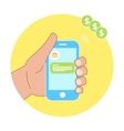 Mobile payment of bank hand holding phone vector image