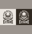 monochrome motorcycle repair service label vector image vector image