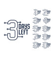 number days left timer banner design vector image vector image