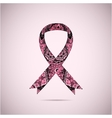 Ornate Ribbon of Breast Cancer on abstract pink vector image vector image