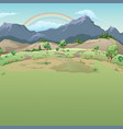 rainbow in mountains sample cards on good vector image
