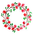 Red Flower watercolor wreath for beautiful design vector image vector image