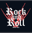 rock and roll t-shirt design hand of skeleton vector image