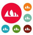 rock climbing icons circle set vector image