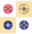 round gift box icon set in flat and line styles vector image vector image