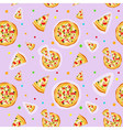 Seamless colorful cartoon pizza texture