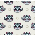 Seamless pattern with funny raccoon faces vector image vector image