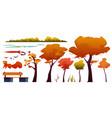set autumn landscape elements trees and grass vector image
