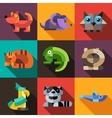 set flat design geometric animals icons vector image