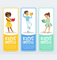 set of banners with teenagers reading books vector image vector image