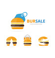 set of burger logo combination hamburger and shop vector image