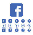 set of facebook flat icon on a white background vector image vector image