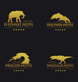 set of logo or emblem hotel with elephant dolphin vector image vector image