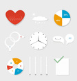 Set of various symbols from paper on a gray vector image vector image