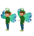 Smiling and sad boy leprechaun in green suit vector image