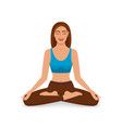 smiling girl with closed eyes relaxes in yoga vector image