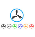 triple human footprint rounded icon vector image