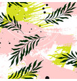 tropical palm leaves on pink green vector image vector image