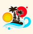 tropical palm trees and an island in the ocean vector image vector image