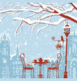 winter cityscape with street cafe lantern bird vector image vector image