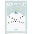 Vintage christmas card with playing child vector image