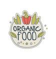 organic food logo template design badge for vector image