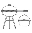 barbecue grill and pot linear tourist bowl and bbq vector image