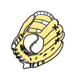 baseball glove and ball hand drawn icon vector image