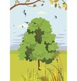 blossoming linden summer landscape vector image vector image