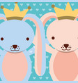blue and pink rabbits wearing crown dots vector image