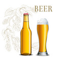 bottle beer and a glass on background vector image vector image