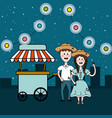 brazilian people celebrating with fast food car vector image