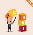 Cartoon Businessman stacking goal box - - EP vector image vector image