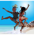 cartoon man and woman having fun jumping vector image