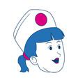 cartoon woman nurse head female character vector image