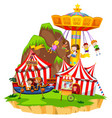 children playing on rides in amusement park vector image vector image