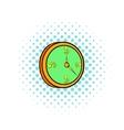 Clock icon in comics style vector image