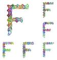 Colorful ellipse fractal font - letter F vector image vector image